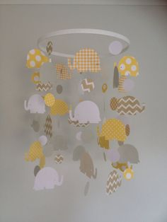 Elephant paper baby mobile  by Inspiredbylove2 on Etsy, $47.00