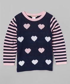 Love this Navy & Pink Heart Sweater - Infant, Toddler & Girls on #zulily! #zulilyfinds