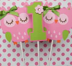 3 Owl Birthday Party  Centerpiece Sticks  by sweetheartpartyshop, $10.00