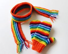 Orange Rainbow Pixie Set of Scarf and Mittens - Rainbow Winter Children's Outfit - Classic Mittens and Matching Scarf for Kids