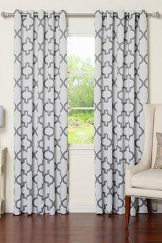Grey Reverse Moroccan Tile Printed Room Darkening Grommet Curtain Pair - Set of 2
