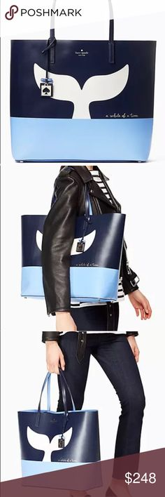 """Kate Spade large blue whale leather tote Brand new with tag. Smooth leather unlined tote in large size. Dimension: 13.5"""" H x 15"""" W x 6"""" D. Open top. No trades  kate spade Bags Totes"""