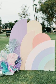 """Twin Palms"" rainbow pastel birthday for twins Taytum & Oakley Layer Cakelet) Rainbow Birthday Party, Rainbow Theme, Rainbow Pastel, 3rd Birthday, Birthday Parties, Hippie Birthday, Backdrop Design, Decoration Design, Decor Photobooth"