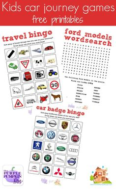 Free kids car journey games printable. Five free printable kid games perfect for road trips.  Make sure your children are occupied on car journeys with these free car journey games printables.