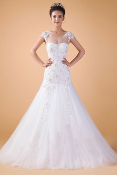 A-line sheer sleeves court train wedding dress. $256.99. Worldwide Shipping.
