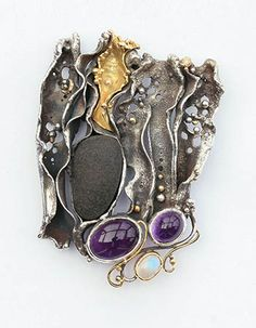 Eve LLyndorah & Ray Lipovsky: Haiku Brooch, Sterling silver and 18k yellow gold, with amethyst cabochons, blue moonstone, black basalt beach stone, and champagne diamond (2.5mm).