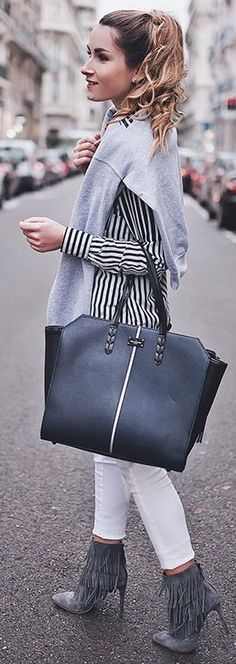 Stripes And Fringes Fall Streetstyle Inspo by Heels On Gasoline