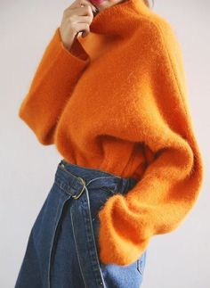 Bright orange mohair fluffy jumper, and d-ring denim jeans culottes. Obsessed! - elegant evening dresses, dress shopping, womens evening dresses *ad