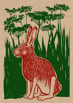 Hare  recycled pagan greetings cards  by ChargedByFire on Etsy