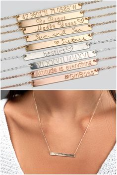 Personalized Bar Necklace, Custom Name Necklace, Engraved Necklace, Custom Hand Stamped, Monogram Initial Necklace, Mothers Day Jewelry H440 by BlushesAndGold on Etsy https://www.etsy.com/listing/492605689/personalized-bar-necklace-custom-name
