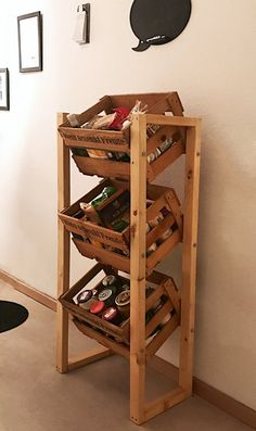 Wine crate shelf without wine boxes. Shelf storage kitchen