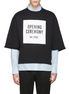Opening Ceremony Black Logo Cut-Off T-Shirt from SSENSE (men, style, fashion, clothing, shopping, recommendations, stylish, menswear, male, streetstyle, inspo, outfit, fall, winter, spring, summer, personal)