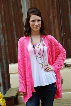 Pink Passion Crochet Cardigan You'll be popping the pink in our Long Crochet Sleeve Cardigan!  Perfect for cool summer nights!