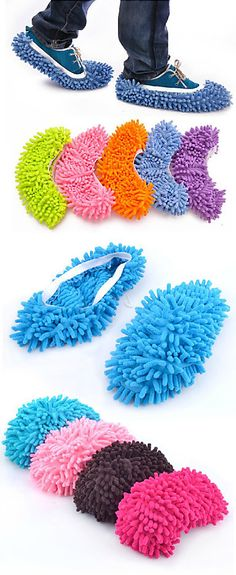 Slip-over mop shoe covers for creative lazy people! Sucks up water and spills, dusts, mops and polishes as you walk - haha! #product_design  I wanna know what kind of people buy these?? LMAO