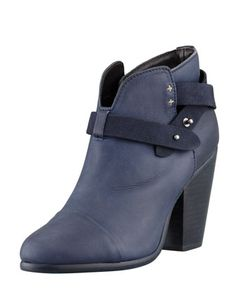 Harrow Leather Ankle Boot, Navy by Rag & Bone at Bergdorf Goodman.