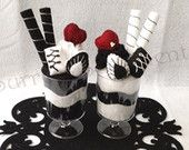 Surreal Black and White Chocolate and Hearts Felted Sundae Cups: His and Hers / Couple / Paired gift, Gift Box Included