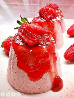 Flan de fresas