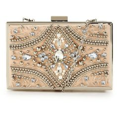 Forever Unique Forever Unique Jewel Embellished Hard Box Clutch (71 CAD) ❤ liked on Polyvore featuring bags, handbags, clutches, bolsas, purses, borse, hand bags, beige handbags, man bag and jeweled purse