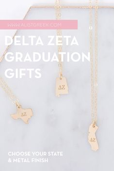 Spoil your Delta Zeta Grad with a custom sorority state necklace! Delta Zeta Grad Gift | DZ Sorority State Necklace | College Graduation Gift Idea | Grad Gift for Her | Grad Gift for Girlfriend | Grad Gift for Daughter | Grad Gifts for Best Friends | Personalized State Necklace | Sorority Graduation Necklace #HappyGraduation #SororityGrad College Sorority, College Graduation Gifts, Sorority Graduation, Graduation Necklace, Kappa Alpha Theta, Kappa Delta, Sigma Tau, Pi Beta Phi, Tri Delta