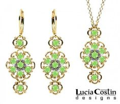 14K Yellow Gold over .925 Sterling Silver Pendant and Earrings Set by Lucia Costin with Sterling Silver Center Flowers and Twisted Lines Surrounded by Dots, Enhanced with Light Green Swarovski Crystals Lucia Costin. $125.00. Produced delicately by hand, made in USA. Unique and feminine, perfect to wear for special occasions and evenings. Enhanced with peridot Swarovski crystals. Floral jewelry set by Lucia Costin. Romantic floral design