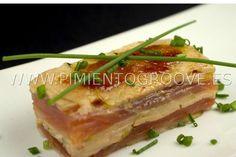 Milhojas de foie, salmón y manzana