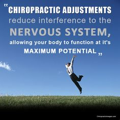 Chiropractic adjustments reduce interference to the nervous system, allowing your body to function at it's maximum potential. Benefits Of Chiropractic Care, Chiropractic Quotes, Chiropractic Clinic, Chiropractic Adjustment, Family Chiropractic, Chiropractic Wellness, Spinal Decompression, Wordpress, Sciatica Pain