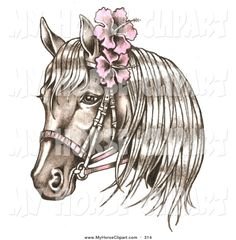 Clip Art of a Bridled Brown Horse Wearing Pink Hibiscus Flowers in ...