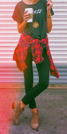 Casual fall outfit with red checkered flannel, tee shirt, skinny black jeans, and taupe suede booties.