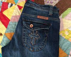 COWGIRL TUFF CROSS Flap Pockets  Jeans 28 X 35  EUC Distressed Western  | eBay