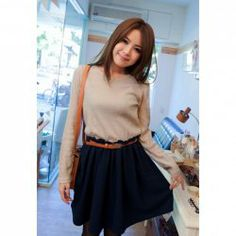 Casual Color Splicing Long Sleeve Cotton Dress For Women (With Belt)