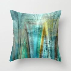 Abstract Throw Pillow Cover Teal Gold Turquoise Green Brown Blue Modern Home Decor Living room bedroom accessories Cushion Euro Sham Cover