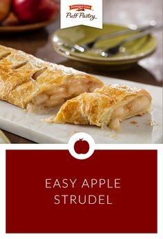 A delicious dessert that is as easy as pie! All you need to do is roll out a sheet of Pepperidge Farm Puff Pastry, spoon on apple pie filling, roll up and bake in the oven - it's that simple. Keep apple pie filling and Puff Pastry on hand to make this Easy Apple Strudel whenever you need it.