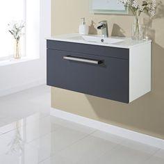 800mm Wall Hung Single Drawer Vanity Unit Gloss Grey  - Image 2