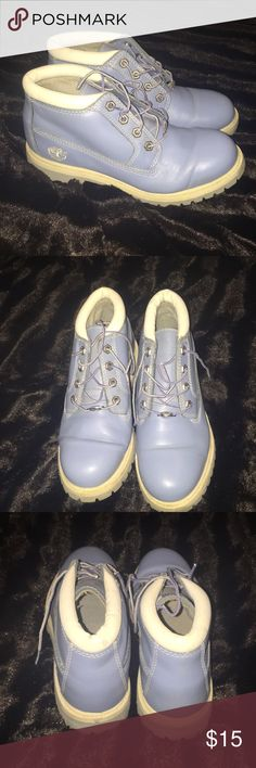 d2e90190d6d4f Timberland baby blue leather boots Brand is timberland boots size is 7.5  color is baby blue