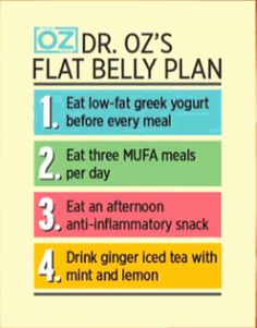 Dr. Oz's Flat Belly Plan: eat low-fat greek yogurt before every meal; eat  MUFA (plant based fats) with 3 meals each day; eat an afternoon anti-inflammatory snack; drink a ginger iced tea with lemon & mint.