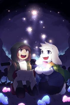 storyshift : Chara & Asriel with Stars Undertale Theories, Toriel Undertale, Undertale Ships, Undertale Fanart, Asriel Wallpaper, Fan Art, Undertale Drawings, Toby Fox, Estilo Anime