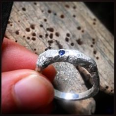 Finishing off this #Rustic #SilverRing with a flush set #sapphire . #handmadegifts #handmadejewellery #saphire #SilverRing #rusticfashion #fashion #blue