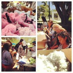 Students making stuffed animals for their valentines with KAT #valentines #lynnuniversity