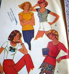 Lovely Vtg 1970s Tops Sewing Pattern Medium. mmcalls 4506 Vintage Patterns, Vintage Sewing, Sewing Patterns, 1970s, Medium, Fictional Characters, Tops, Vintage Couture, Factory Design Pattern