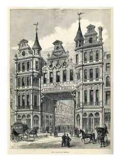 File:Leadenhall Market entrance Illustrated London New - Wikimedia Commons Victorian London, Vintage London, Old London, London City, Victorian Era, Victorian Buildings, Victorian Architecture, Classical Architecture, Historical Architecture