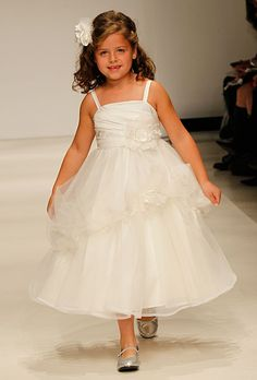 Disney Fairy Tale Weddings by Alfred Angelo - Fall 2012 - Style 702 Snow White Sleeveless Satin and Organza A-Line Flower Girl Dress with Sq...