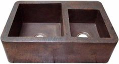 """Custom copper apron sink with two bowls for modern and traditional kitchen. It is for sale with two patina color options. If you live in the continental USA delivery is free and takes about four weeks. Copper Kitchen Sink """"Apron"""" by Custom Made. #myCustomMade"""