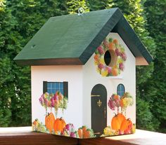 Autumn Birdhouse with Pumpkins and Fall by birdhousesbycathie, $30.00