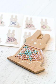 Moon Picnic Wood Cross Stitch Friends Kit - Bunny