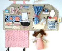 Textile Sewed Dollhouse with a Mini Rag Doll by MummusCreatures