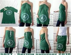 T-Shirt to convertible halter or skirt remake T Shirt Reconstruction, Robe Diy, Shirt Transformation, Diy Clothes Refashion, Diy Vetement, Diy Clothes Videos, Recycled T Shirts, Creation Couture, Clothing Hacks