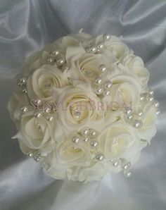 Ivory Diamante And Pearl Rose Bridal Bouquet Vintage Bridal Bouquet, Wedding Brooch Bouquets, White Wedding Bouquets, Bride Bouquets, Bridal Flowers, Ivory Wedding, Wedding Dress, Bridesmaid Corsage, Bridesmaids