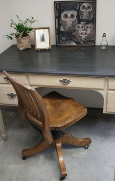 awesome Reloved Rubbish: Graphite and Old Ochre Desk by http://www.danazhome-decor.xyz/european-home-decor/reloved-rubbish-graphite-and-old-ochre-desk/