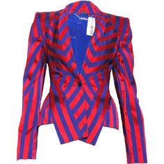 Pre-owned Alexander McQueen Striped Blazer ($185) ❤ liked on Polyvore featuring outerwear, jackets, blazers, blazer, red, long sleeve blazer, long sleeve jacket, red jacket, striped jacket and blazer jacket