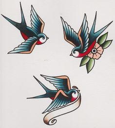 How to Draw a Group of Swallows in a Retro Tattoo Style tattoos Retro Tattoos, Trendy Tattoos, Swallow Tattoo Design, Swallow Bird Tattoos, Swallow Tattoo Meaning, Rose Tattoos, Body Art Tattoos, New Tattoos, Tatoos